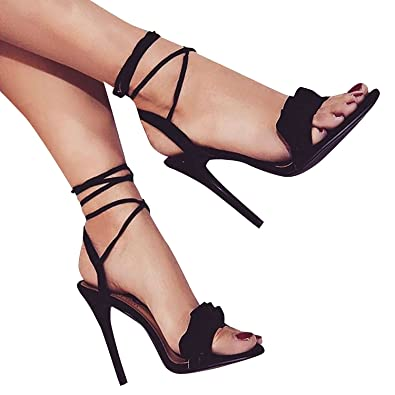 Amazon.com | Women Lace up High Heels 4.3