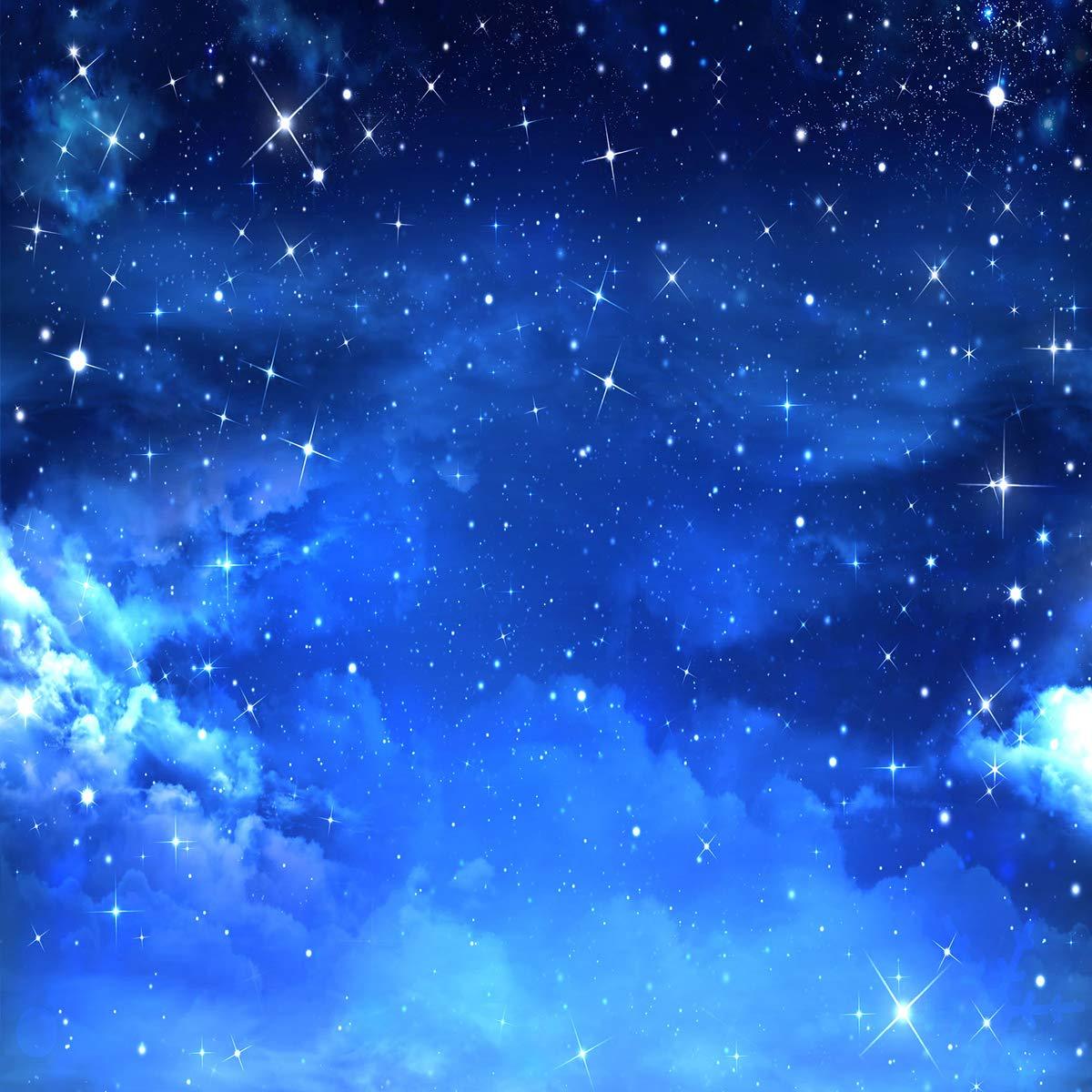 8 x 8フィート マイクロファイバー背景 星空の夜 雲 写真背景 パーティー 誕生日 背景 ベビーショー 写真ブース小道具   B07KY4FCVC