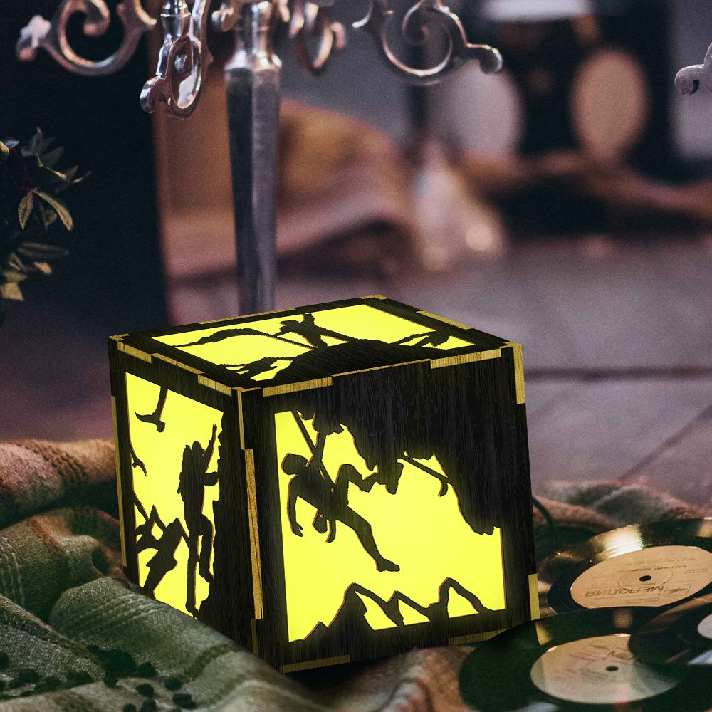 Extreme Sport Rock Climbing Night Light Wood Lantern Cragsman Silhouette Lamp Bedside Table Lamp Decorative LED Lantern Night Light for Climbing Lover Gift