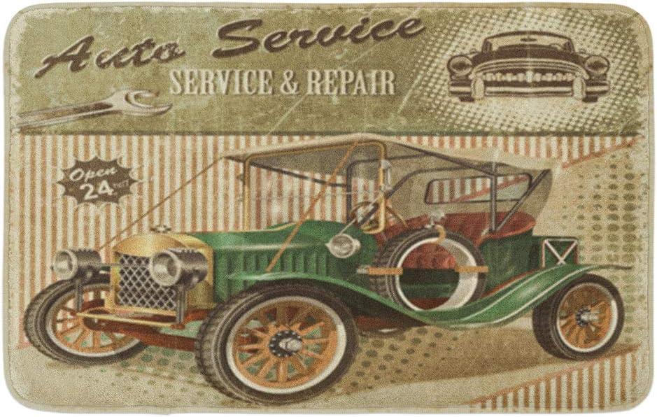 "Adowyee 16""x24"" Bath Mat Car Vintage Garage Retro 1910S 1920S 1930S 1940S Aged Cozy Bathroom Decor Bath Rug with Non Slip Backing"