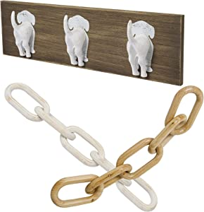 GENMOUS & CO.Decorative Key Holder & Dog Leash Hook Wall Mount for Entry Way, Kitchen, & Mudroom (Dog Tail Triple Hooks) & Wooden Chain Home Decor Farmhouse Decorative 5-Link Chain Decor Hand-Carved