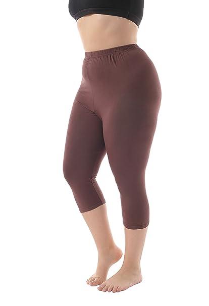 4f05342a4634b Zerdocean Women's Modal Plus Size Basic Solid Color Capri Leggings ...