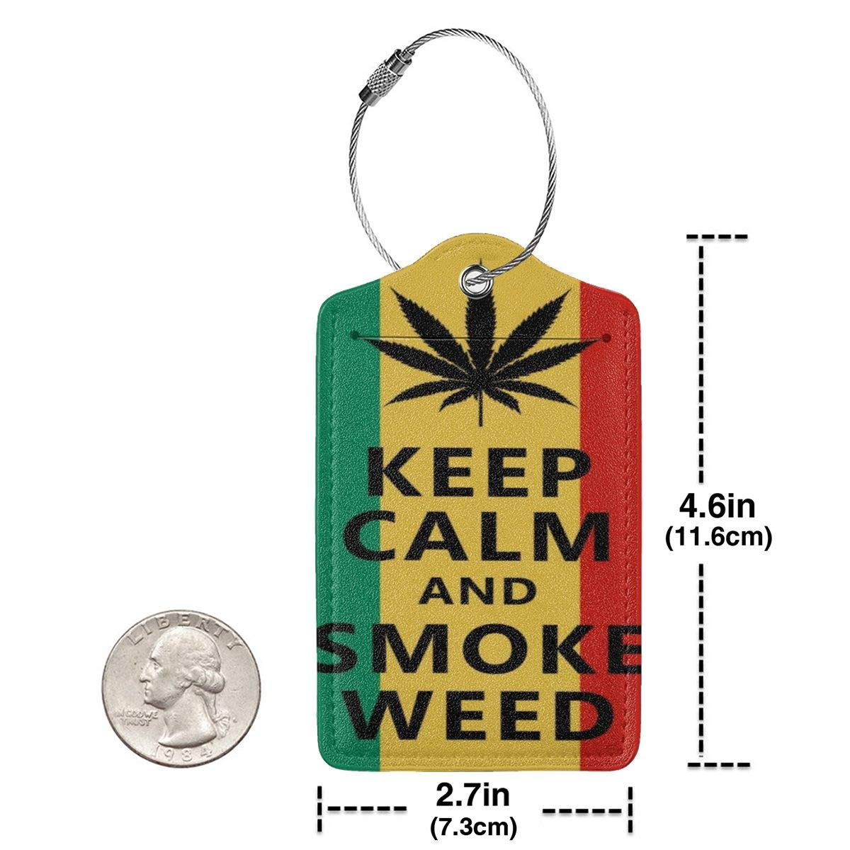 GoldK Smoke Weed Flag Leather Luggage Tags Baggage Bag Instrument Tag Travel Labels Accessories with Privacy Cover