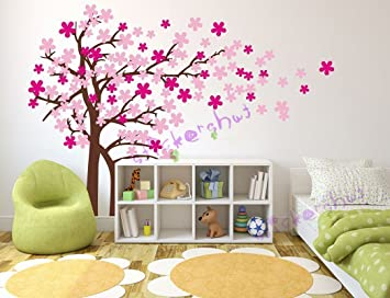 Nursery Cherry Blossom Wall Decal Baby Nursery Tree Decals Family Tree  Flower Decal Pink White Girl