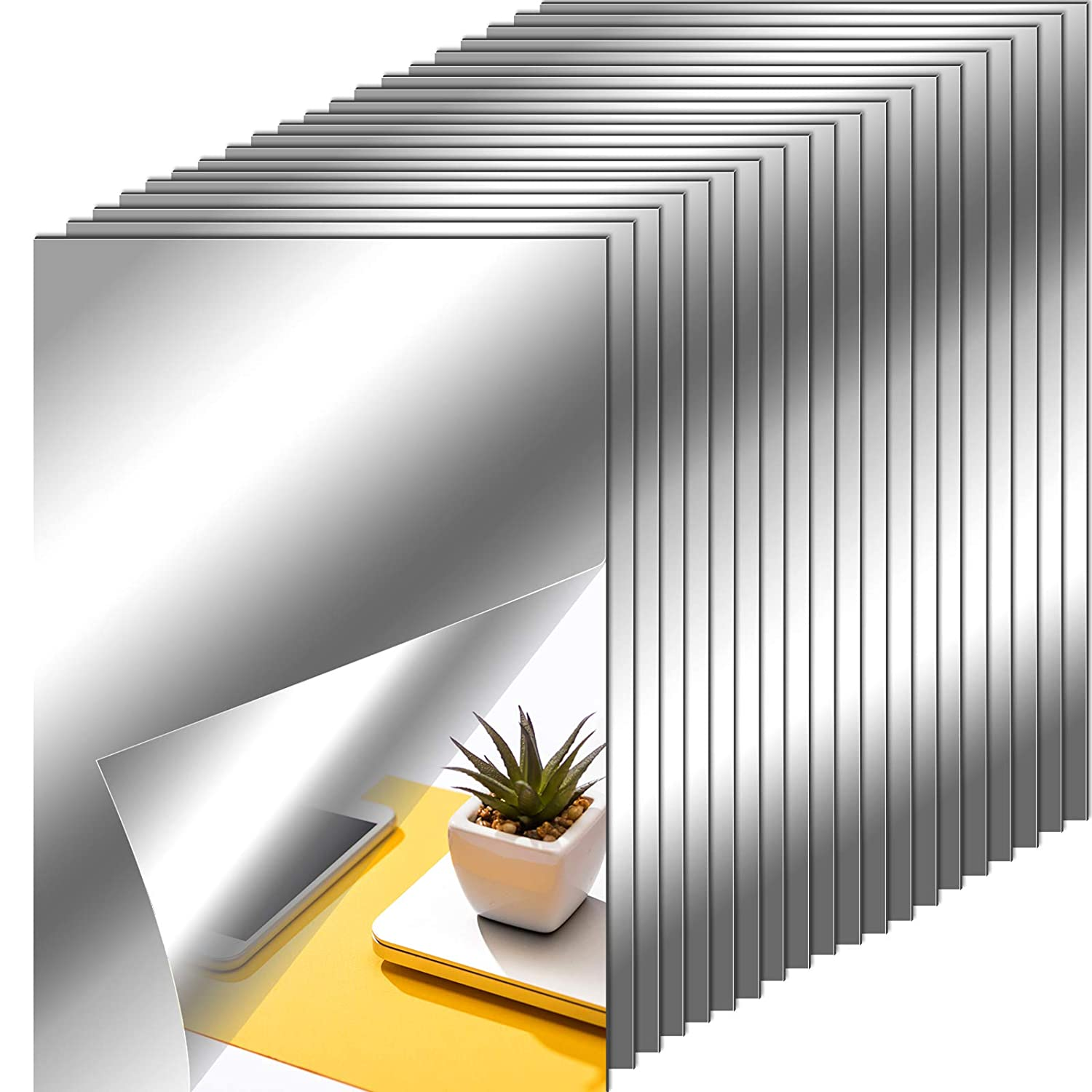 Flexible Mirror Sheets Self Adhesive Non Glass Mirror Tiles Mirror Stickers for Home Wall Decor (20, 6 x 9 Inches)