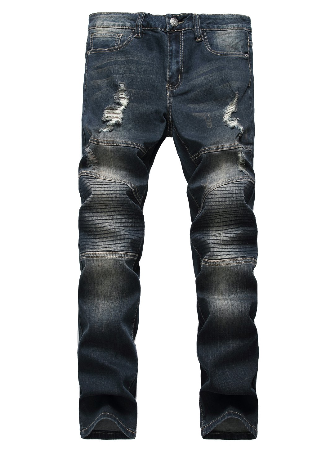 TUNGLUNG Men's Straight Slim Fit Motorcylce Jeans with Holes Dark Blue 28