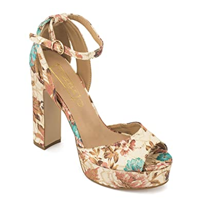 441919790 TRUFFLE COLLECTION Nude Floral Print Platform Block Heel Sandals: Buy  Online at Low Prices in India - Amazon.in