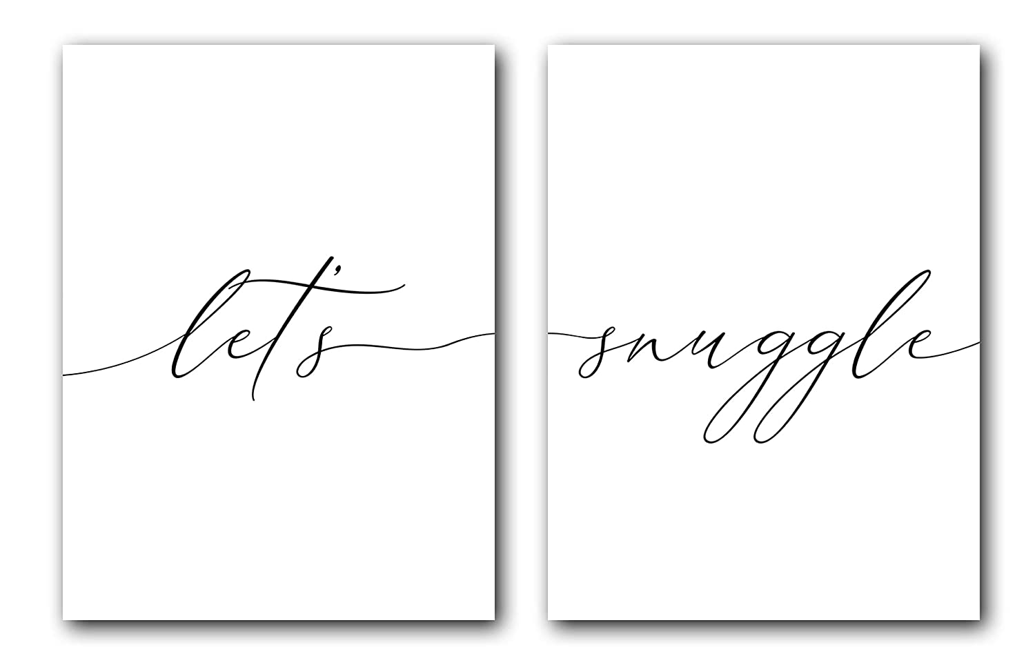 Let's Snuggle, Unframed, 18 x 24 Inches, Set of 2, Posters, Minimalist Art Typography Art, Bedroom Wall Art, Romantic Wall Decor
