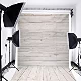 MOHOO 5x7ft Photography Background Collapsible Photo Backdrops Silk White Wood Floor Props for Studio (Update Material)