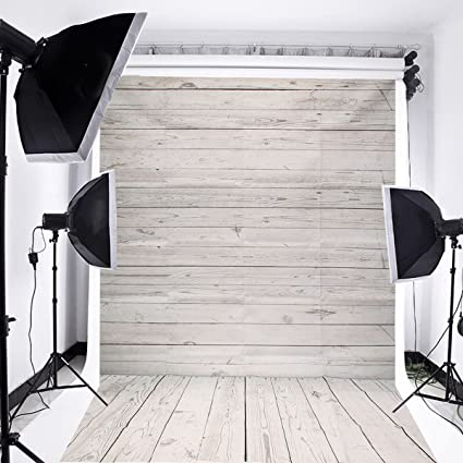 MOHOO 5x7ft Photography Background Collapsible Photo Backdrops Silk White Wood Floor Props For Studio Update