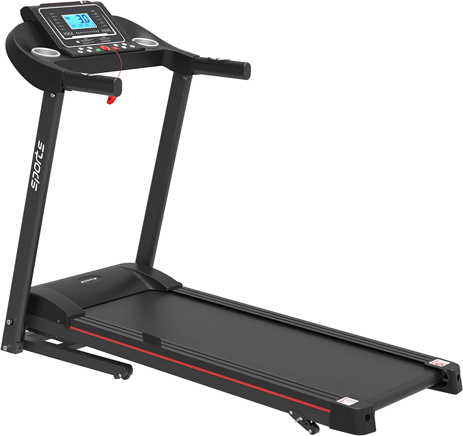 """Folding Treadmill, Smart Motorized Treadmill with Manual Incline and Air Spring & MP3, Exercise Running Machine with 5"""" LCD Display for Home Use"""