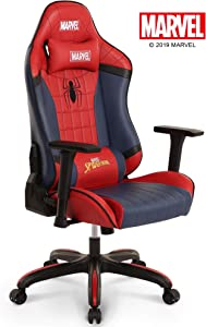 Marvel Avengers Gaming High End Ergonomic Neck Lumbar Support Armrests Reclining and Tilting Computer Desk Office Executive Leather Racing
