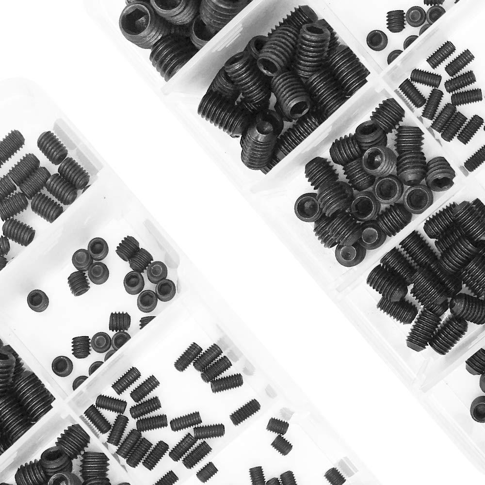 Haotrend 200pcs M3//4//5//6//8 Allen Head Socket Hex Grub Screw Set Assortment Kit with Plastic Box 12.9 Class Black Alloy Steel