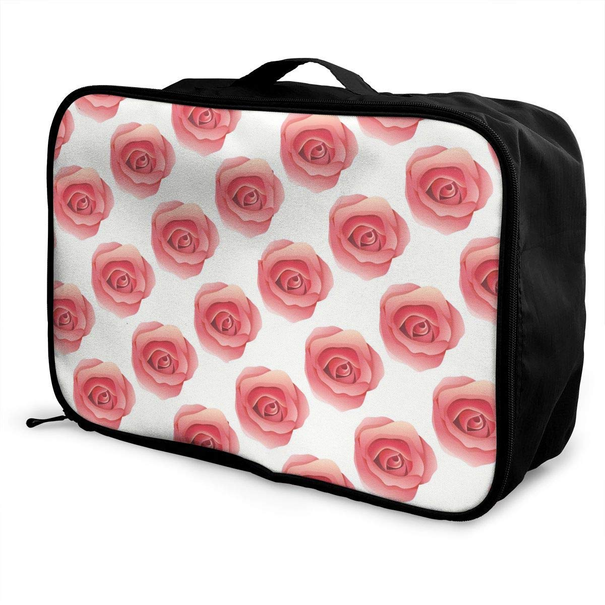 Portable Luggage Duffel Bag Rose Travel Bags Carry-on In Trolley Handle