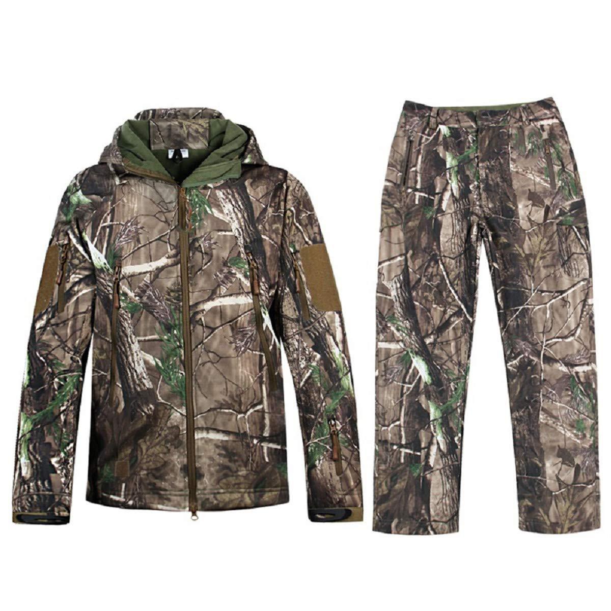 New Men Hunting Camouflage Clothing Waterproof Windproof Hooded Jacket /& Pants