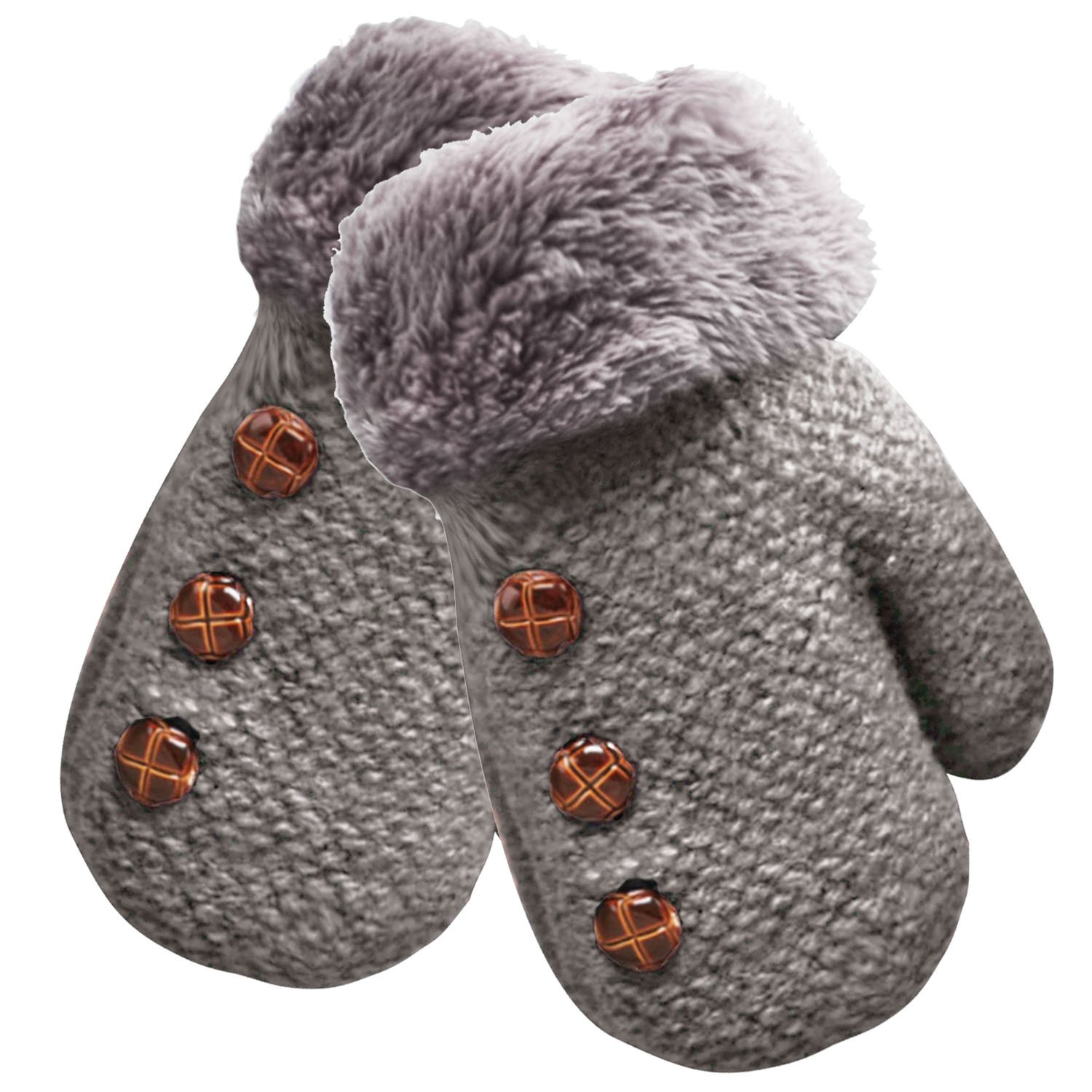Beetest-EU-Cute Winter Warm Kid Baby Children Boy Girl Glove Grey