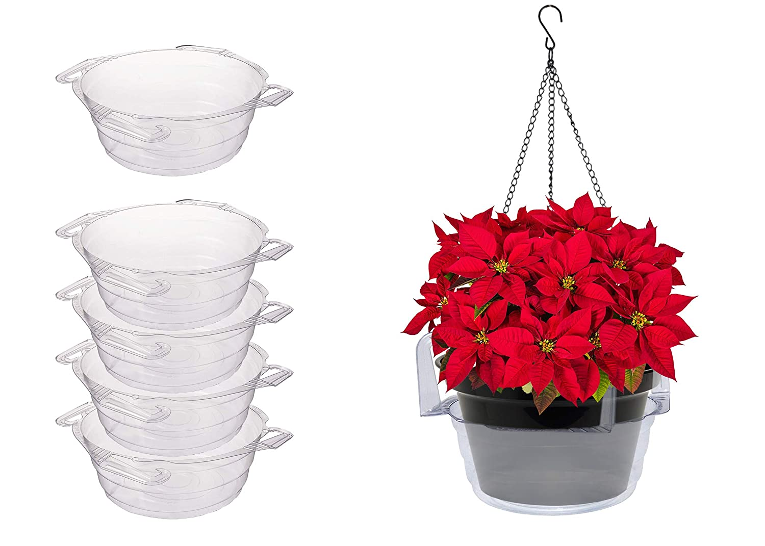 Curtis Wagner Plastics Plant Hanging Basket Drip Pans 5-pack – Clear, Round Diameter 12 top, 9 bottom, 3.75 depth Thin Plastic for Indoor or Garden – Clear, Black Terracotta