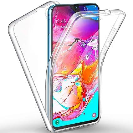 AROYI Funda Samsung Galaxy A70, Ultra Slim Doble Cara Carcasa Protector Transparente TPU Silicona + PC Dura Resistente Anti-Arañazos Protectora Case ...