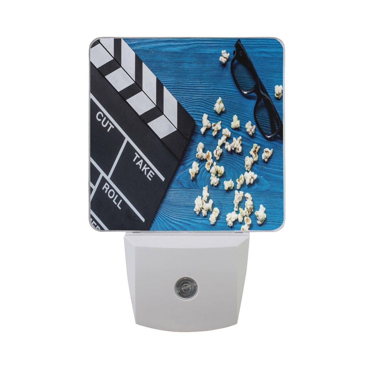 ALAZA Film Movie Clap Blue Wooden LED Night Light Dusk to Dawn Sensor Plug in Night Home Decor Desk Lamp for Adult