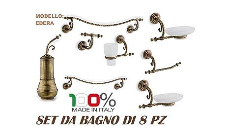 Flab Accessori Per Bagno.Flab Set Accessori Bagno Kit 8 Pz Classico Edera Bronzo
