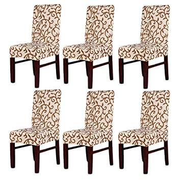 Pack Of 6 Stretch Chair CoversChair Slipcovers Washable Removable Seat Covers For Hotel Restaurant