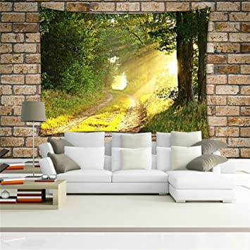 Amazon.com: Green Forest Decor Tapestry Pattern Woven Couch Throw ...
