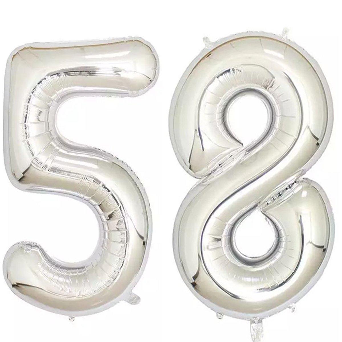 40インチシルバー箔ヘリウムジャンボ58デジタル数のバルーンレディースorメンズ、58、58th誕生日デコレーション誕生日パーティーSupplies   B07B8DZP7V
