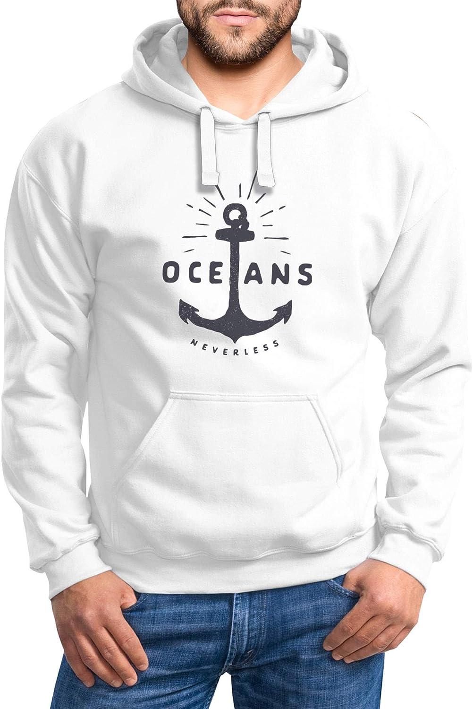 Neverless® Hoodie Herren Anker Motiv maritim Schriftzug Oceans Kapuzen-Pullover Männer Oceans Anker Weiß