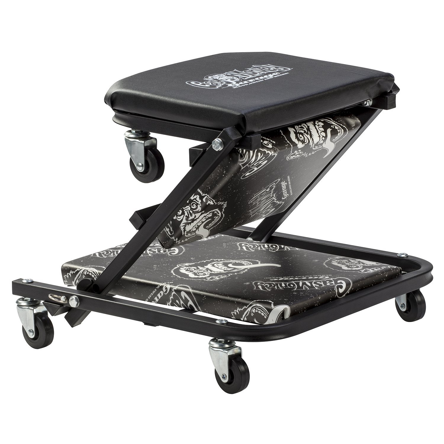 Gas Monkey Z Creeper Mechanic Seat Six Rolling Casters with 300 Lbs Capacity for Automotive Car Garage