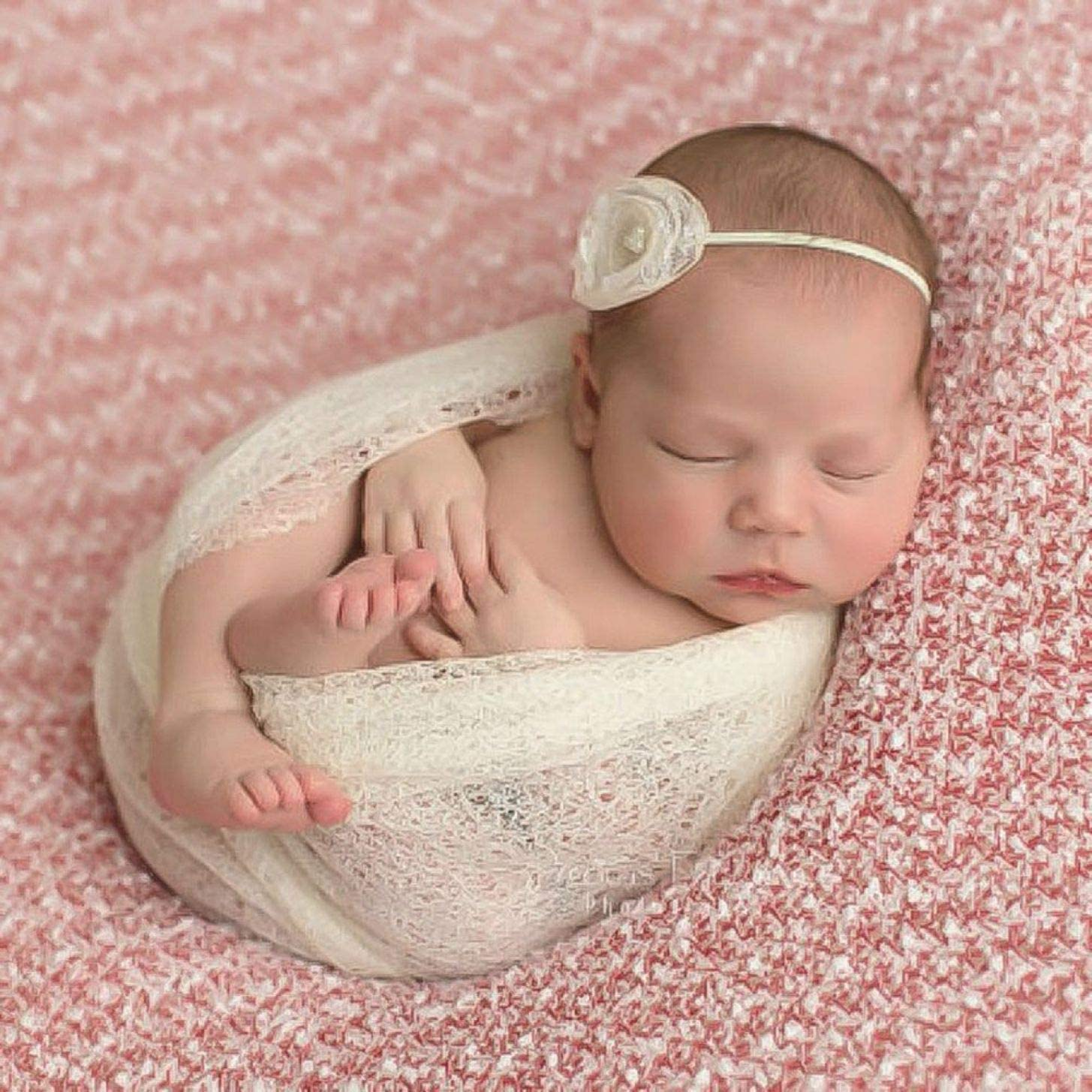 8gh787h Practical Boy Girl Newborn Soft Mesh Gauze Wrap Swaddle Baby Photography Prop Background None 03