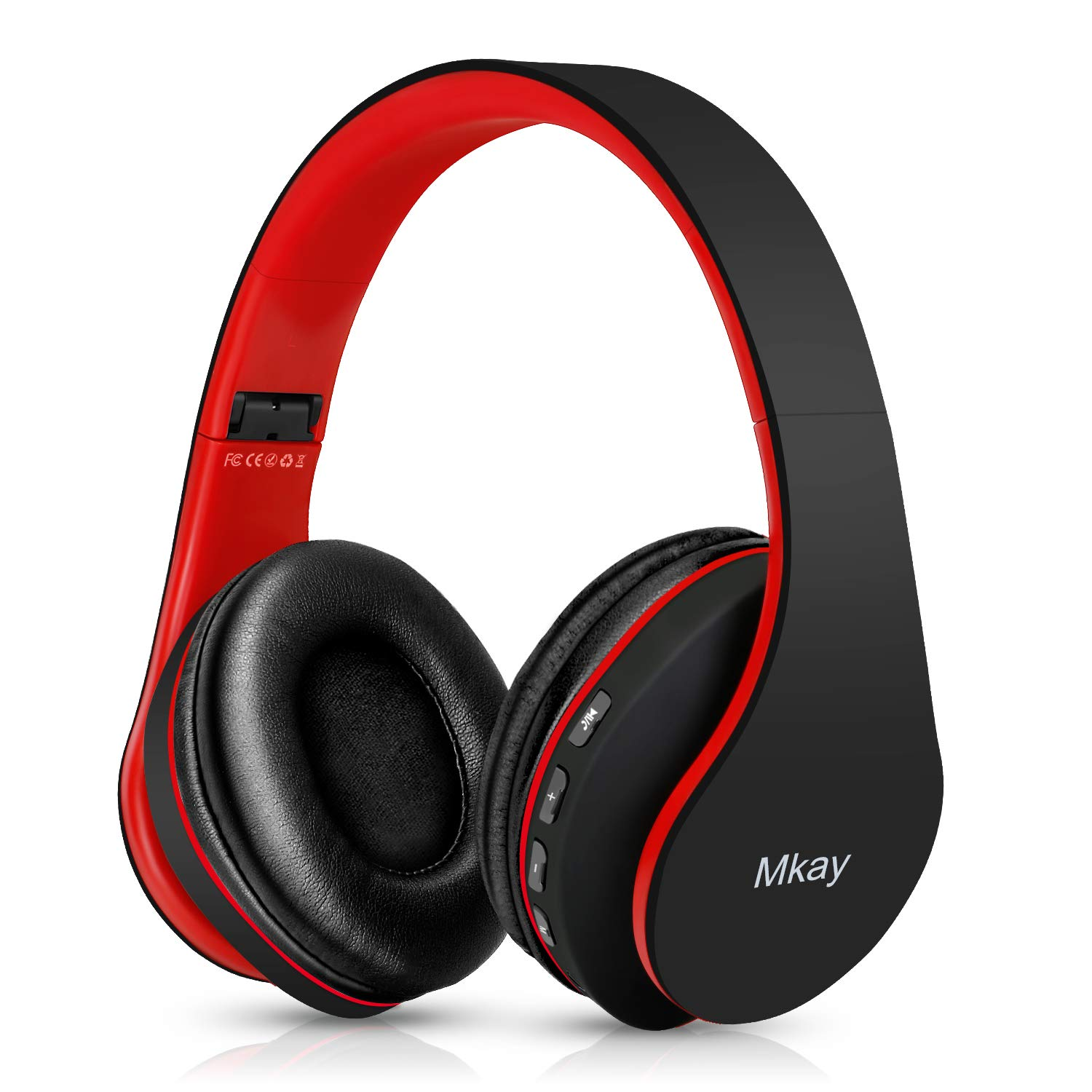 Bluetooth Headphones Wireless,MKay Over Ear Headset V5.0 with Microphone, Foldable Lightweight, Support Tf Card MP3 Mode and Fm Radio for Cellphones Laptop TV Black-Red