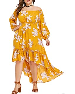 3c1600684a7e ZAFUL Women Plus Size Off Shoulder High Low Flower Dress Long Sleeve Boho  Maxi Dresses