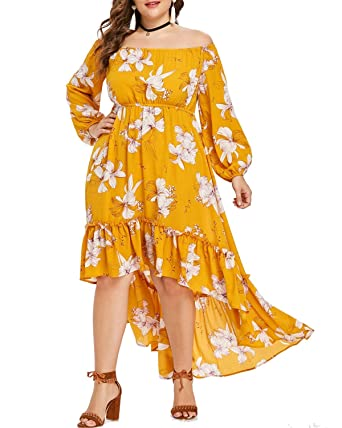 aec068cdb185 ZAFUL Women Plus Size Off Shoulder High Low Flower Dress Long Sleeve Boho Maxi  Dresses at Amazon Women s Clothing store