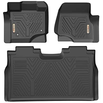 YITAMOTOR Floor Mats Compatible for F150, Custom Fit Floor Liners for 2015-2020 Ford F-150 SuperCrew Cab, 1st & 2nd Row All Weather Protection: Automotive
