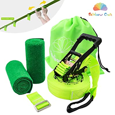 Rainbow Craft Kids Ninja Line Slacker Line for Hanging Ninja Obstacle Course Accessories - Green Color: Toys & Games