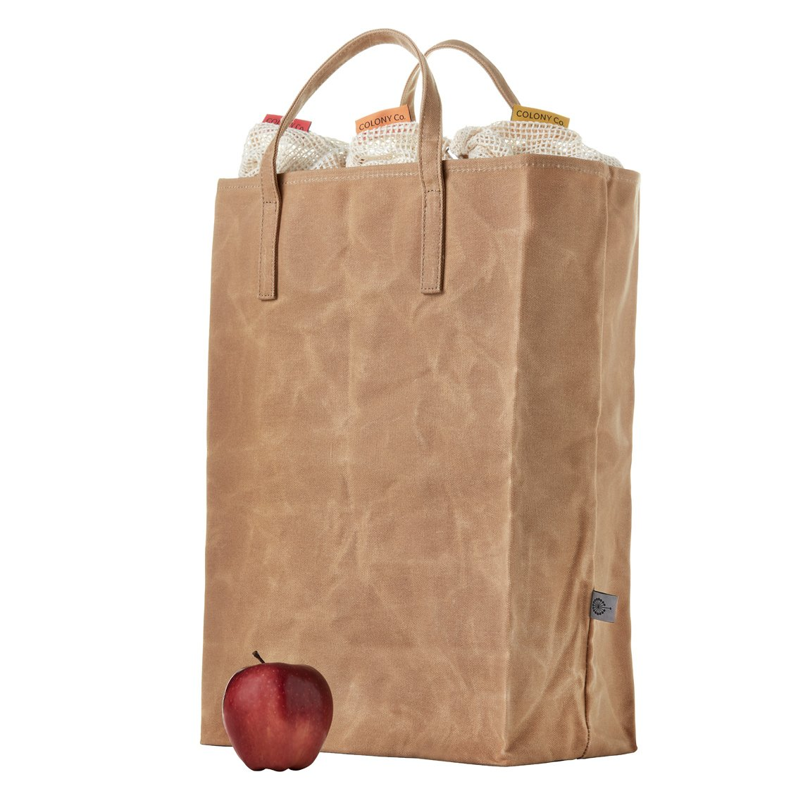 Reusable Grocery Bag | Waxed Canvas | Heavy-Duty | Biodegradable | Foldable | Brown by COLONY CO (Image #2)