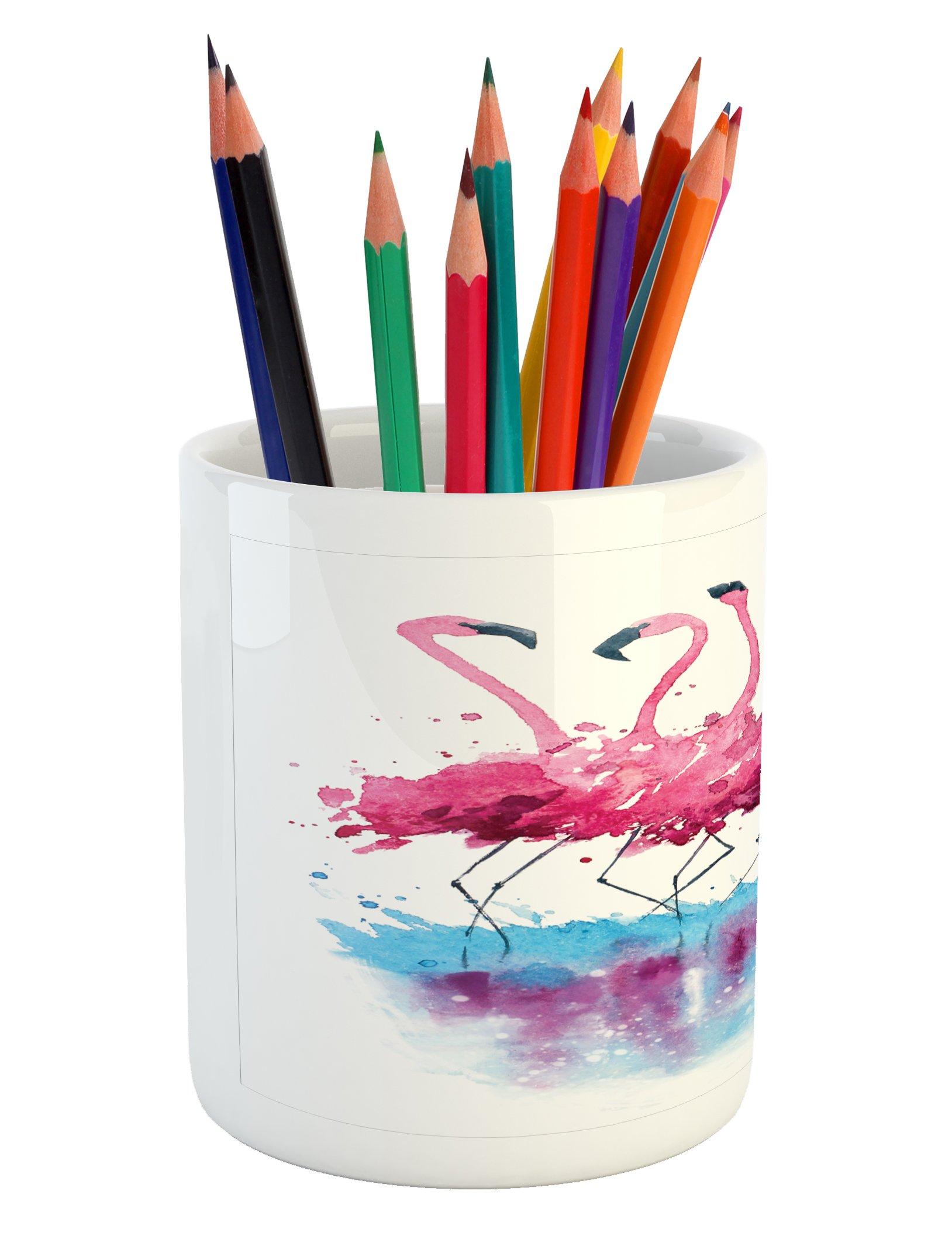 Ambesonne Animal Pencil Pen Holder, Flamingos Love Birds Feather Romance Brushstroke Splash Watercolor Effect, Printed Ceramic Pencil Pen Holder for Desk Office Accessory, Pink Blue Purple by Ambesonne (Image #4)