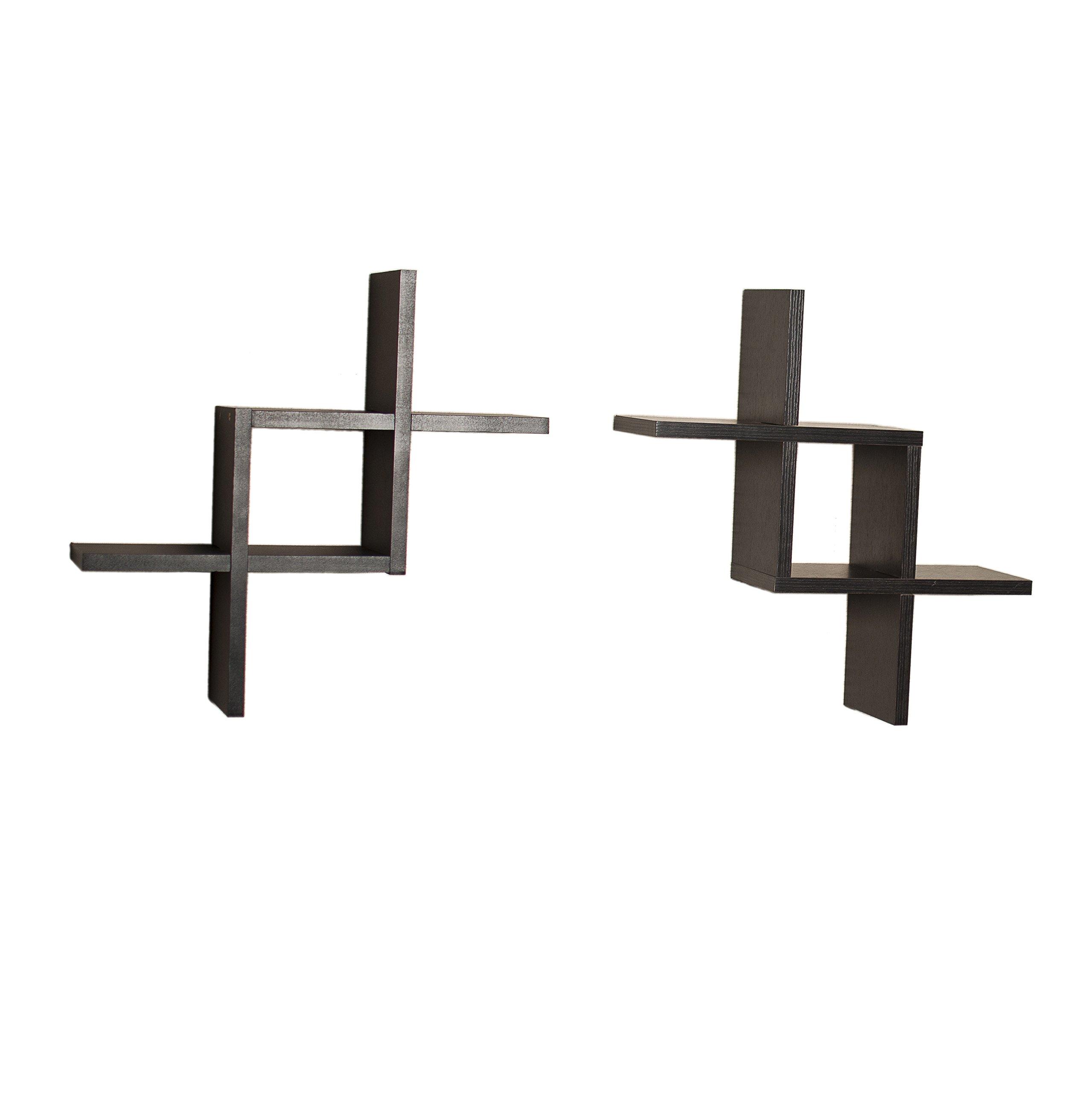 Danya B FF2513B Decorative Wall-Mounted Floating Reversed Criss-Cross Shelves (Set of 2) - Black