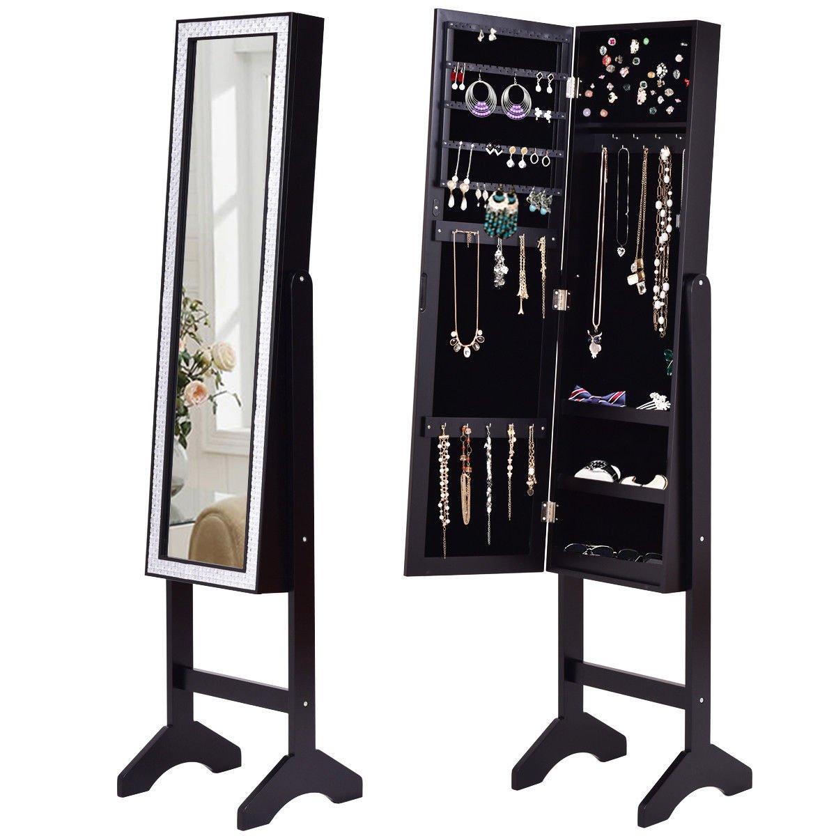 Giantex Mirrored Jewelry Cabinet Armoire with Mirror w/Resin Diamond Design Standing Storage Organizer Box, Black