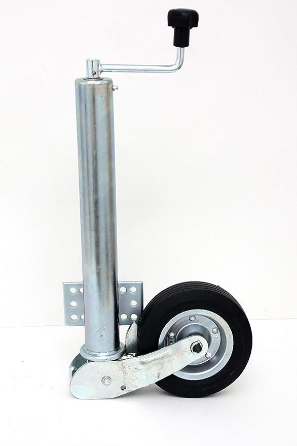 P4u Automatik Stützrad 60mm 400kg Stützlast Flacher Flansch Am Rohr Anhänger Trailer Auto