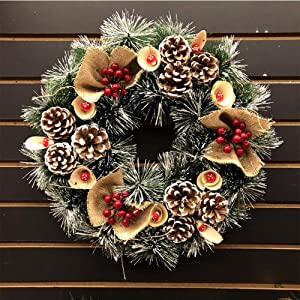 GE&YOBBY Artificial Pine Garland,Christmas Wreaths for Front Door Handcrafted Wall Decoration with Red Berries Artificial Pine Needle Real Pinecones for Market Hotel-b Diameter:45cm(18inch)