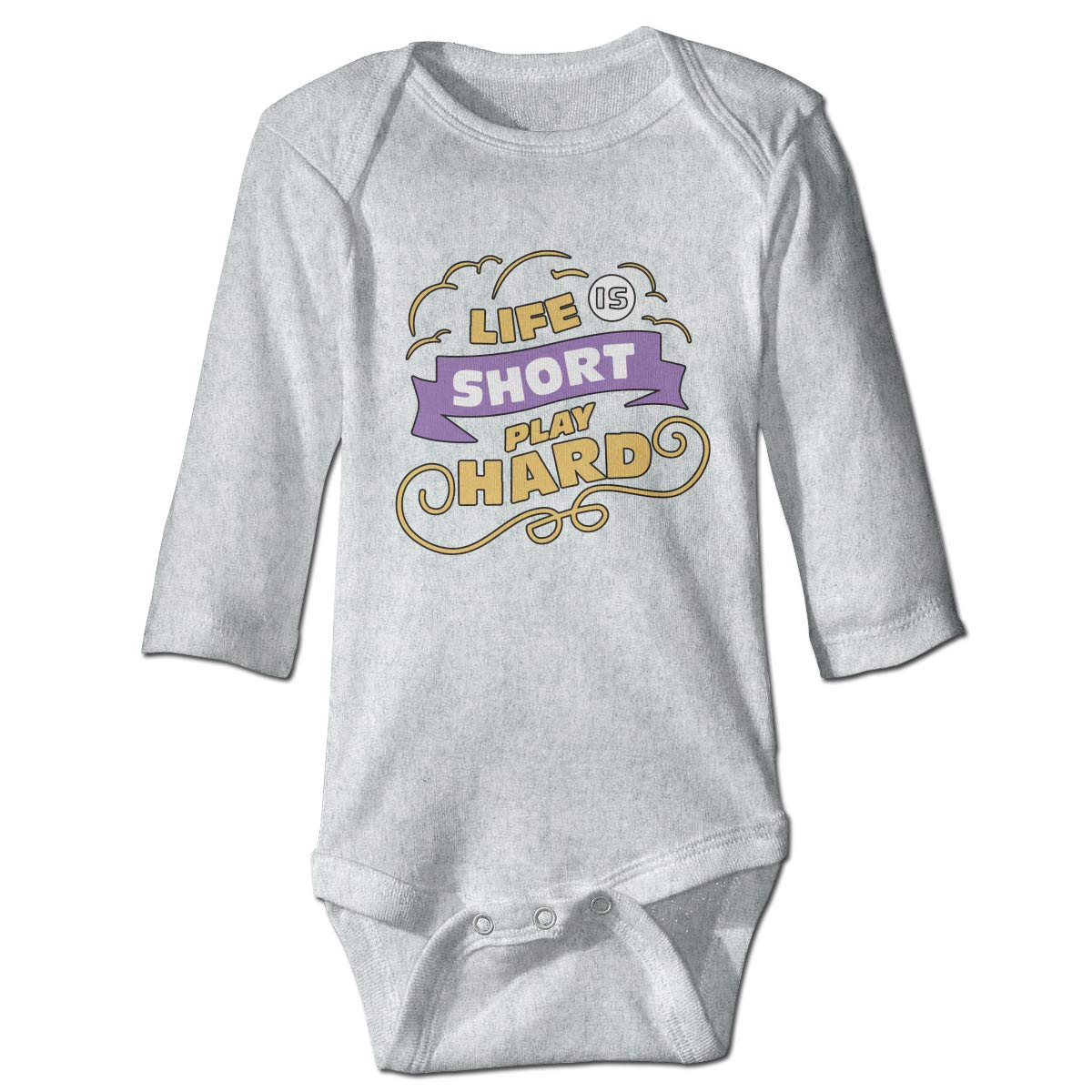 A14UBP Baby Infant Toddler Romper Bodysuit Infant Life is Short Play Hard1 Long Sleeve Funny Baby Clothes