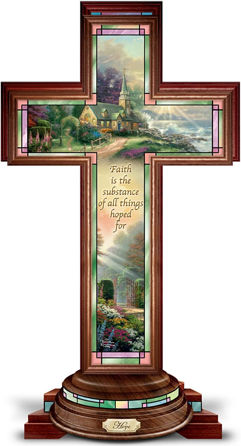 The Bradford Exchange Hope Cross: Thomas Kinkade Illuminated Stained Glass-Style Hope Cross