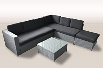 Amazon.de: XXL PolyRattan Lounge 235x221 cm Garten Möbel in GRAU ...