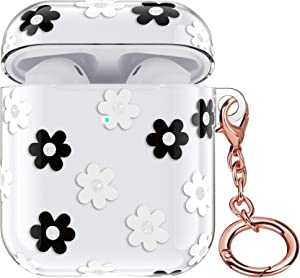 Airpods Case - LitoDream Cute Protective Hard Case Cover Skin Portable & Shockproof Women Girls with Keychain for Apple Airpods 2/1 Charging Case (Clear - Black/White Flower)