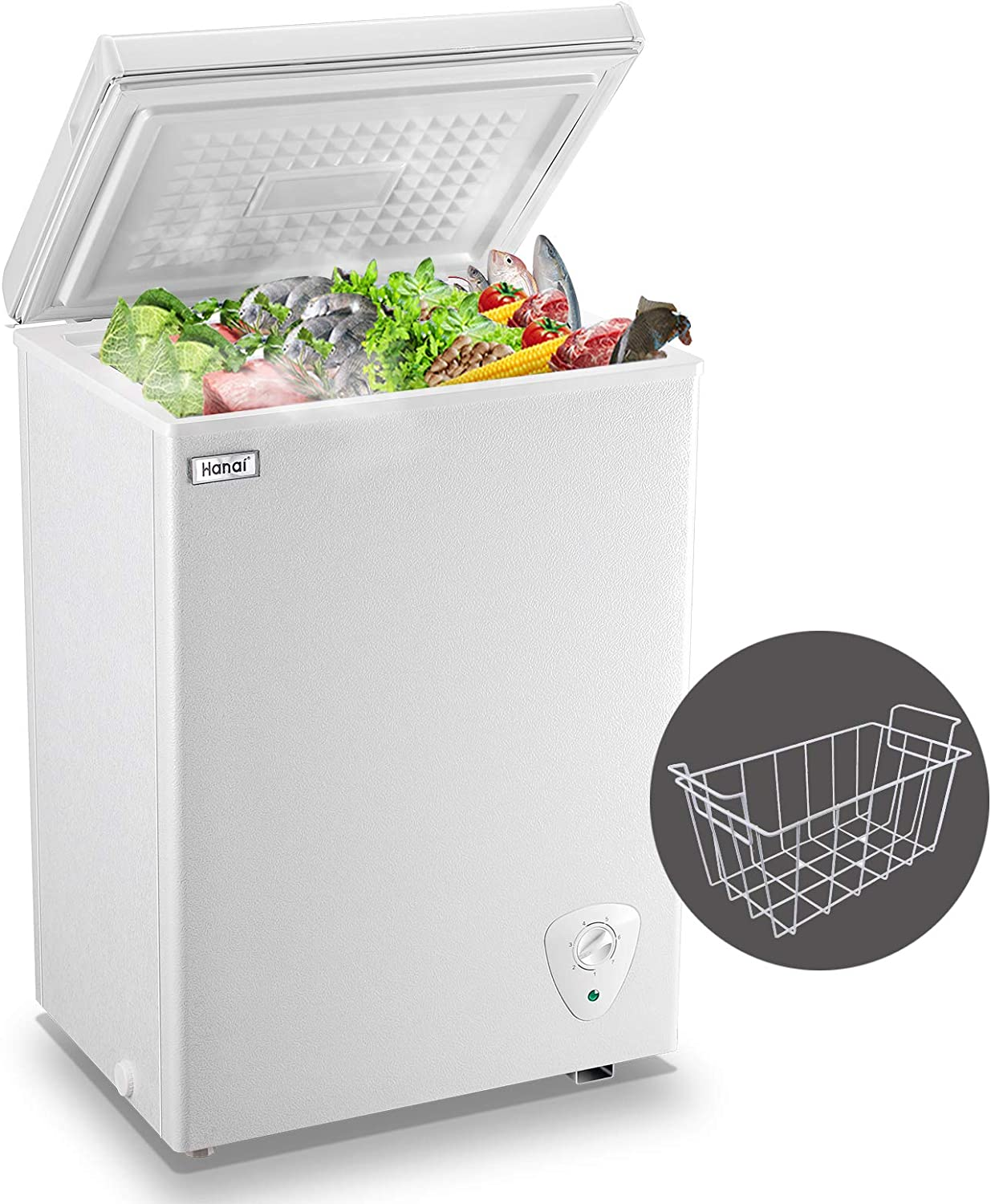 WANAI Chest Freezer 3.5 Cubic Feet Compact Freezers with Adjustable Thermostat Top Open Door Freezer Compressor Cooling with Rmovable Storage Basket for Home, Kitchen and Office. White