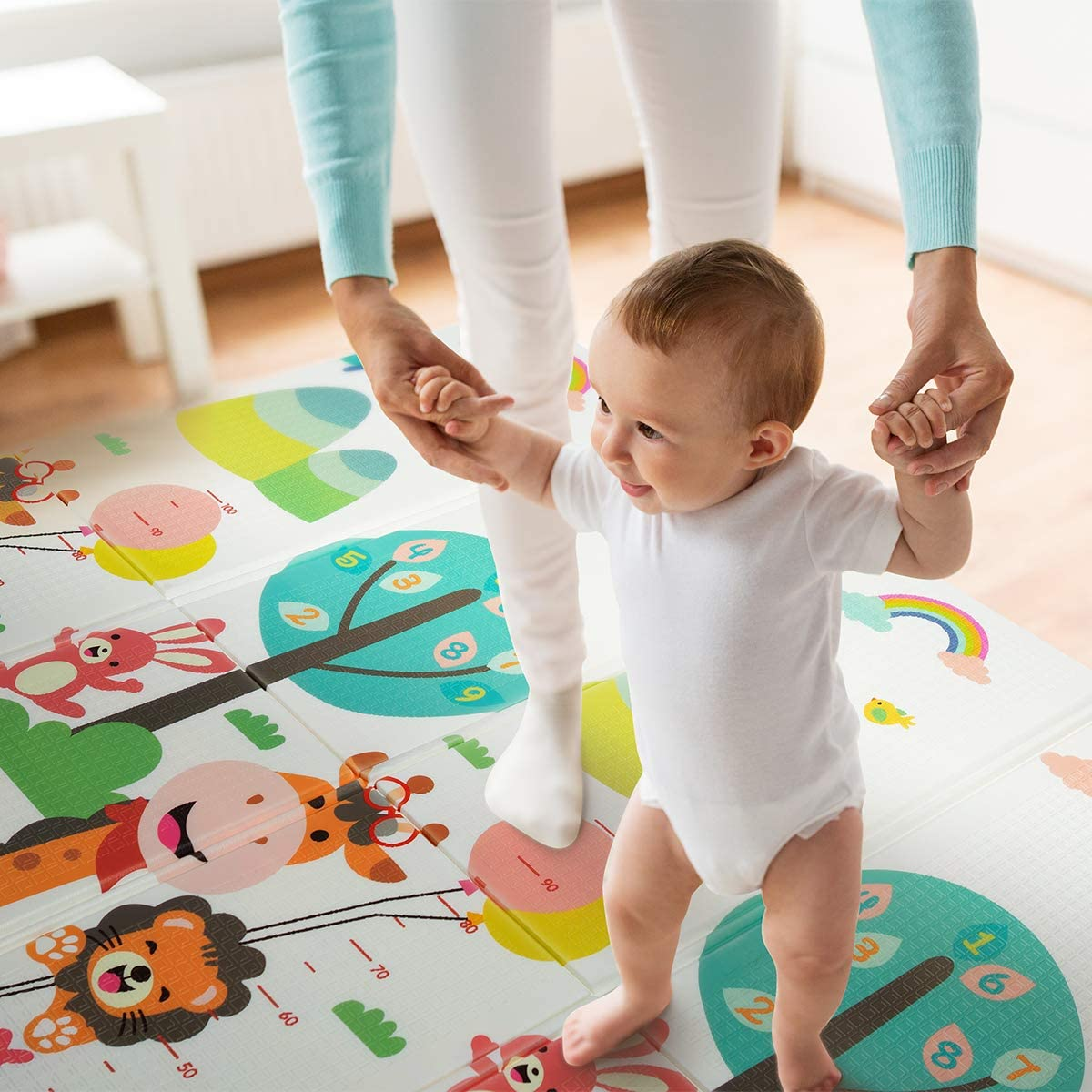 """Baby Play Mat 【Easy to Clean Fold Up】Non-BPA Non-Toxic Foam Folding Playmat 79/"""" x 70 0.6 Thick Extra Large Reversible Crawling Mat Portable Toddlers Kids Waterproof Non-Slip Activity Tummy Time"""