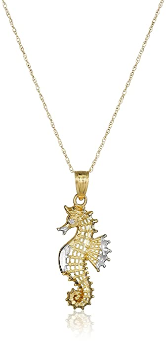 Amazon 10k yellow gold seahorse pendant necklace 18 jewelry 10k yellow gold seahorse pendant necklace 18quot aloadofball