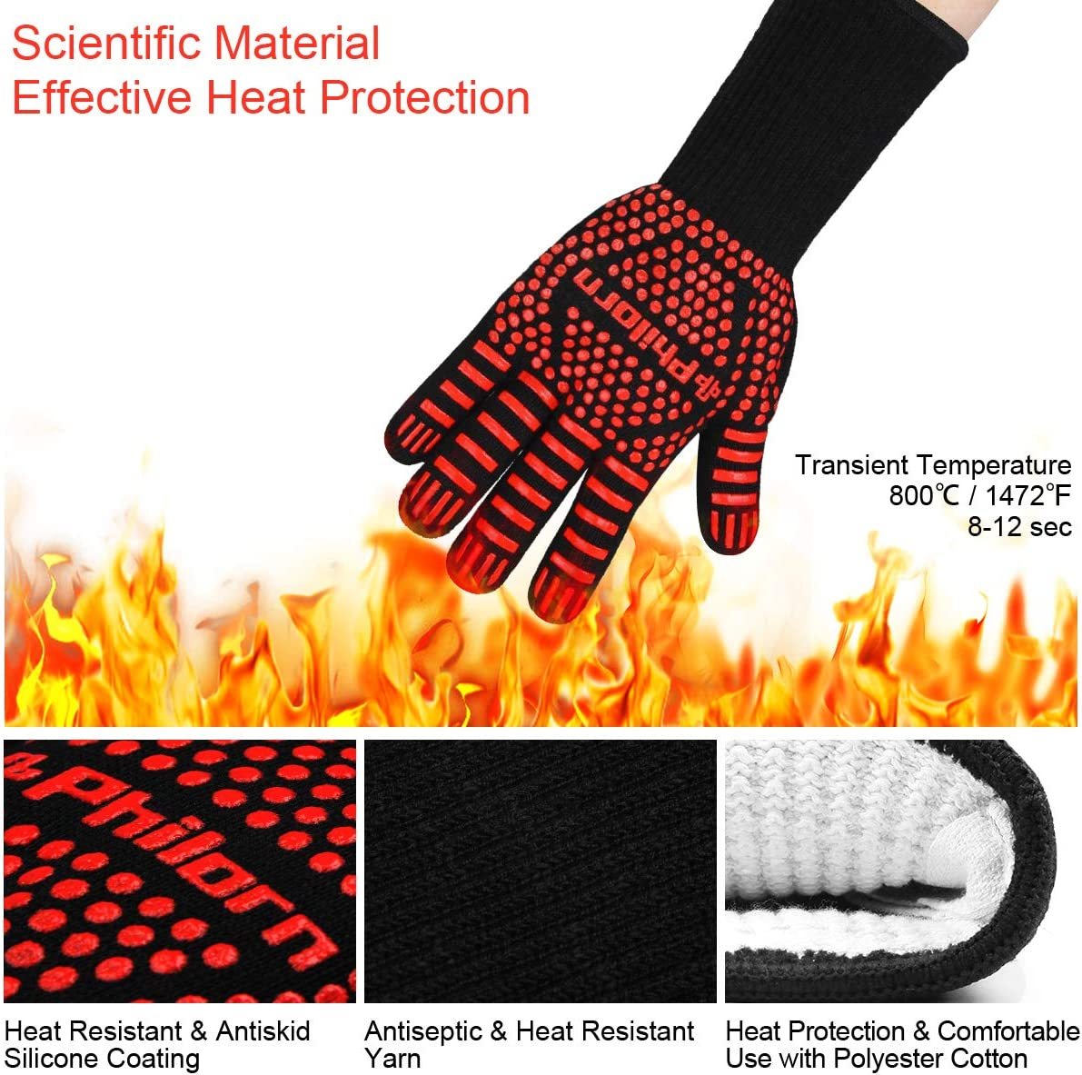 PHILORN 1472/°F Heat Resistant Grilling Glove with Silicone BBQ Brush Five Fingers Knitting Oven Gloves Kitchen Outdoor Cooking Mitts 1 Pair Black