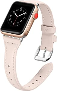 Secbolt Leather Bands Compatible Apple Watch Band 38mm 40mm Iwatch Series 6 5 4 3 2 1 SE Slim Replacement Wristband Strap Stainless Steel Buckle, Beige